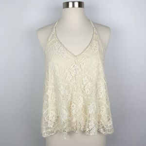 """Anthropologie """"Pins and Needles"""" Cream Lace Top"""